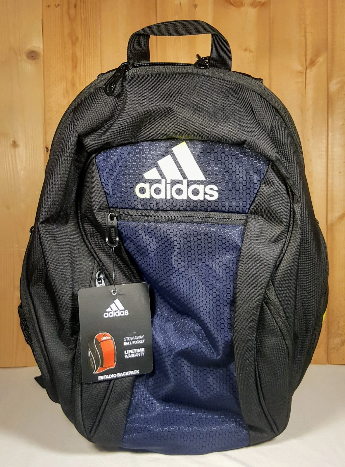 b84b00c32 Adidas Soccer Estadio Team Backpack IV Black w/ Navy and Yellow ...